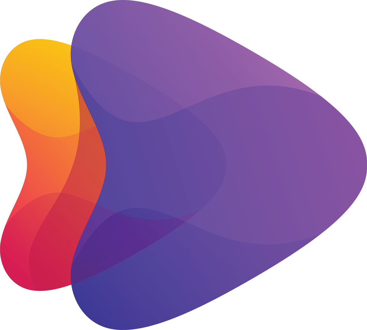 two stylized arrowheads, one orange, one purple, pointing right